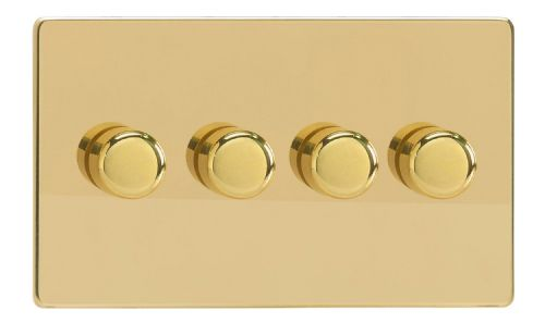 Varilight JDVDP254S Screwless Polished Brass 4 Gang 2-Way Push-On/Off LED Dimmer 0-120W V-Pro